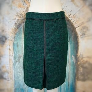 Liz Claiborne-Green Tweed Fitted Skirt